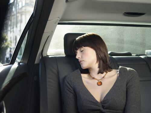 woman asleep in car during salisbury airport transfer