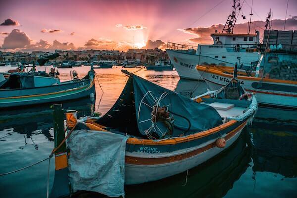 malta st george's bay at sunset