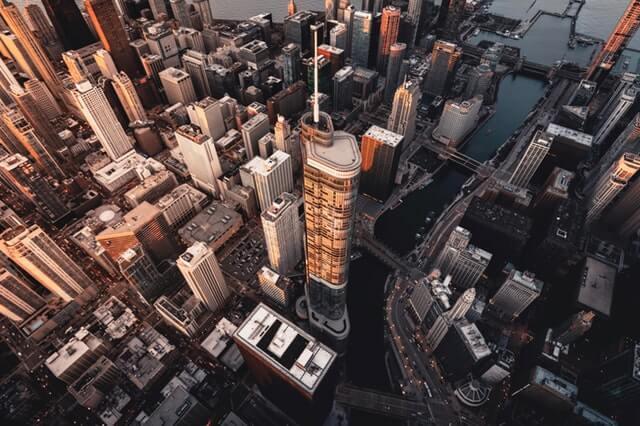 city aerial shot